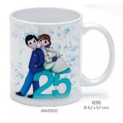 Taza bodas de plata personalizada c/caja de regalo