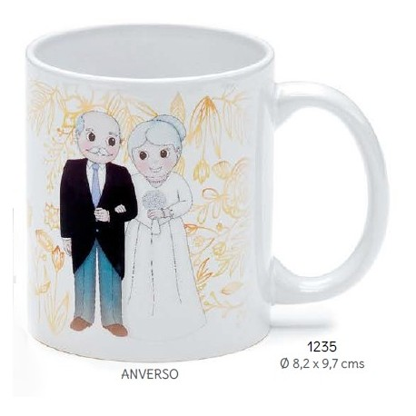 Taza bodas de oro personalizada c/caja de regalo