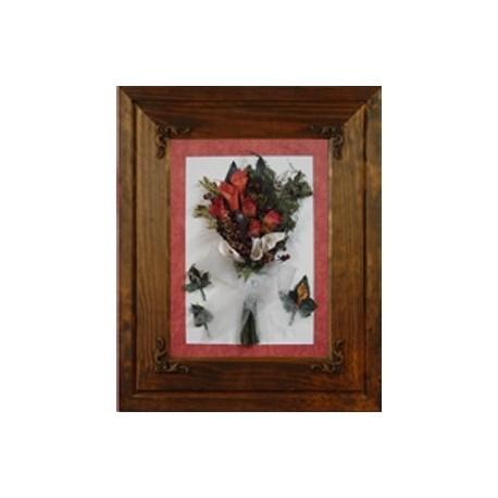 Cuadro madera rustico flor novio o padrino