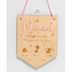 Banderín madera nombre metacrilato rosa datos bebé personalizado