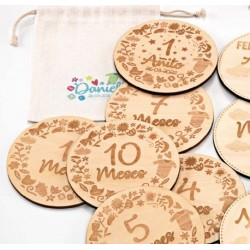 Cumple mes madera fotos bebé motivos personalizado c/bolsa