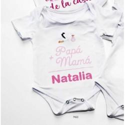 Body bebé suma papá y mamá rosa personalizado nombre