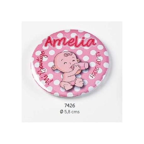 Chapa alfiler niña biberón rosa personalizada