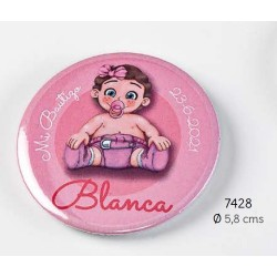 Chapa alfiler niña chupete rosa personalizada