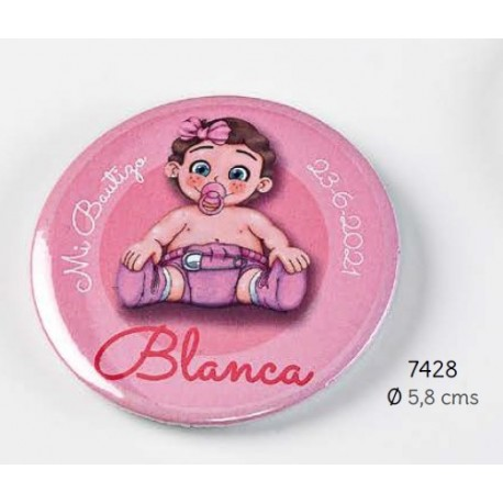 Chapa imán niña chupete rosa personalizada