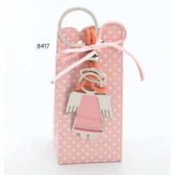 Cajita llavero ángel rosa lazo c/4 peladillas