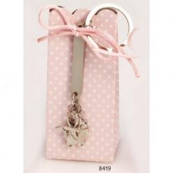 Cajita llavero motivos bebé lazo rosa c/4 peladillas