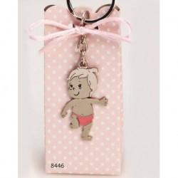 Cajita llavero bebé niño pañal rosa c/4 peladillas