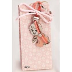 Cajita llavero bebé columpio rosa c/4 peladillas