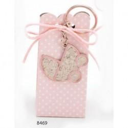 Cajita llavero carrito motivos bebé rosa c/4 peladillas