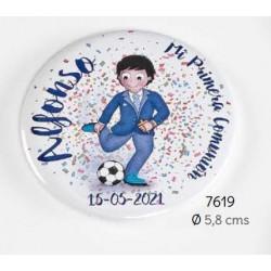 Chapa alfiler niño comunión balón de fútbol personalizada