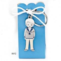 Cajita llavero niño comunión marinero pant. blanco c/4 peladillas