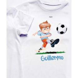 Camiseta niño futbolista nombre personalizado