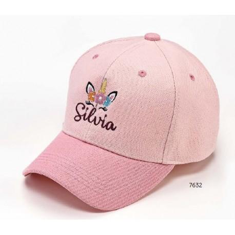Gorra rosa unicornio nombre personalizado c/cierre velcro ajustable