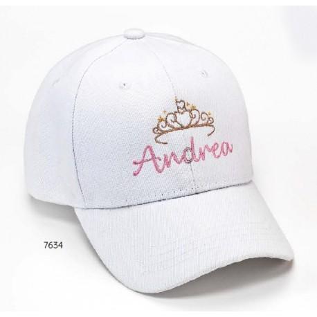 Gorra blanca tiara nombre personalizado c/cierre velcro ajustable