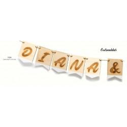 Guirnalda madera pintada nombres novios