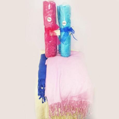 Pashmina gruesa flecos color a elegir (170x70 cm.)