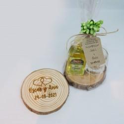 Rodaja madera grabada con orujo