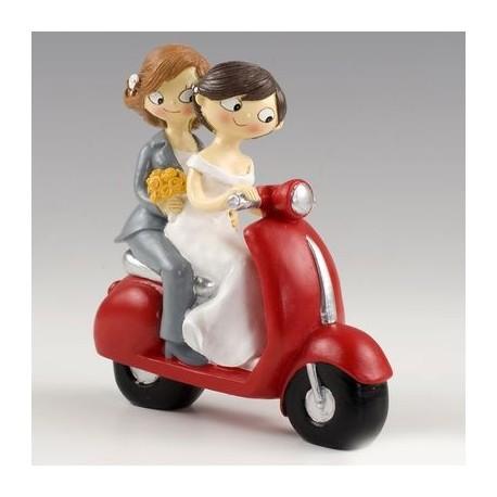 Figura pastel novias CHICAS Pop & Fun en moto
