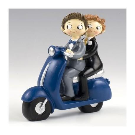 Figura pastel novios CHICOS Pop & Fun en moto