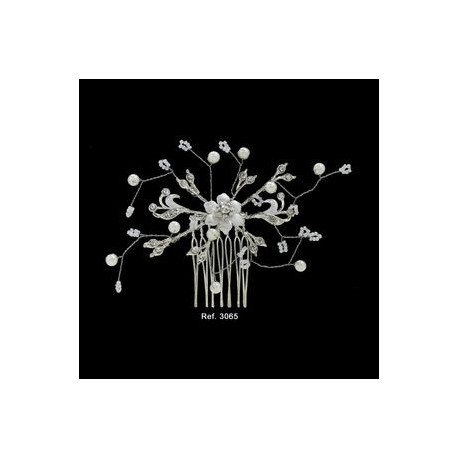 Peineta novia flor perlas I