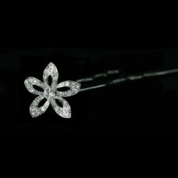 Horquilla de pelo flor 5 puntas plata