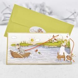 Invitación de boda novio pescado en barca