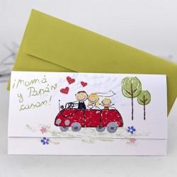 Invitación de boda papa y mama se casan coche rojo