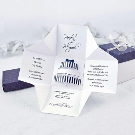 Invitación de boda caja pastel boda