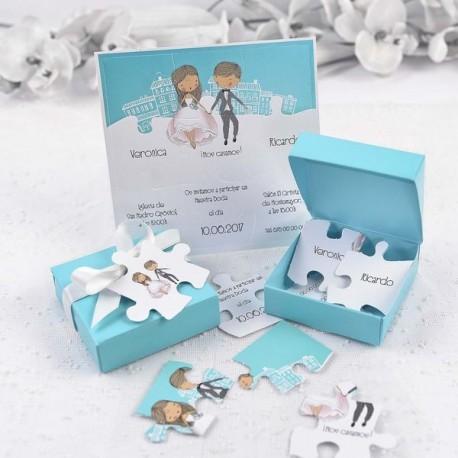 Invitación de boda puzzle caja