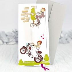 Invitación de boda novia moto