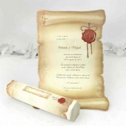 Invitacion de boda pergamino hexagono