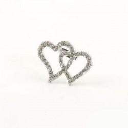 Broche corazones diamantes