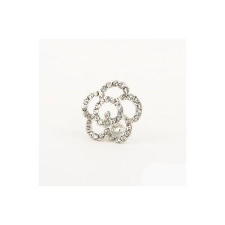 Broche flor diamantes