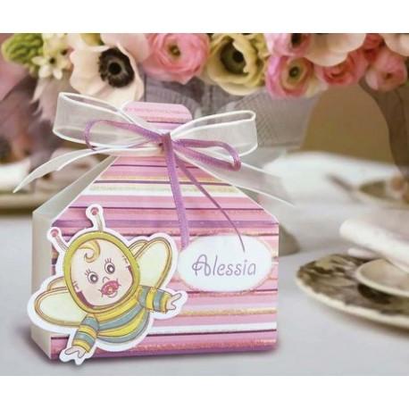 Cajitade bautizo abeja rosa
