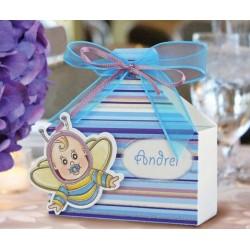 Cajitade bautizo abeja azul