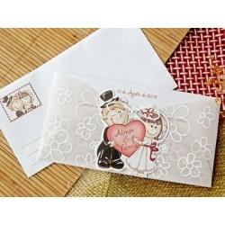 Invitación de boda corazón portada