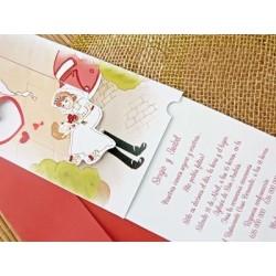 Invitación de boda novia terraza
