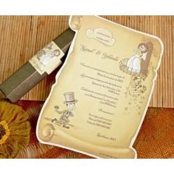 Invitación de boda pergamino novios