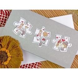 Invitación de boda puzzle banco