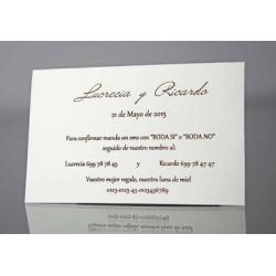 Tarjeta complemento invitación de boda Cimarron