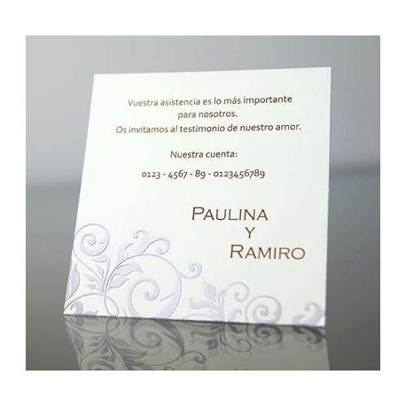 Tarjeta complemento invitación de boda Pergamino