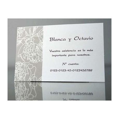 Tarjeta complemento invitación de boda Albahaca Sacre