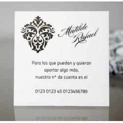 Tarjeta complemento invitación de boda Aliaria