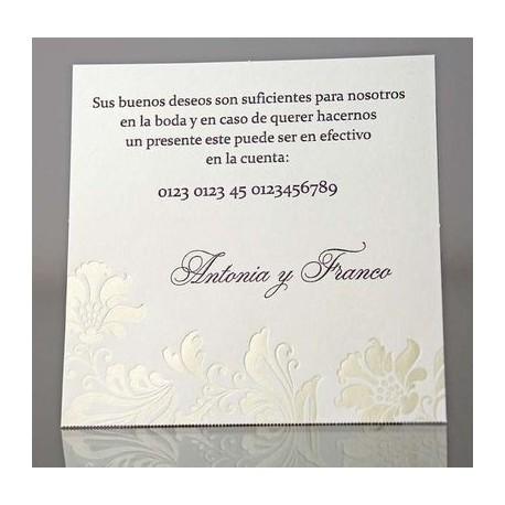 Tarjeta complemento invitación de boda Brede Mafane