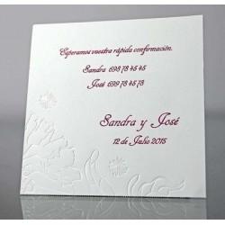 Tarjeta complemento invitación de boda Calamenta