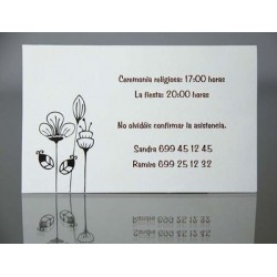 Tarjeta complemento invitación de boda Lima