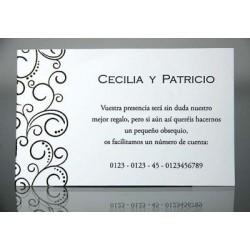 Tarjeta complemento invitación de boda Cebollino