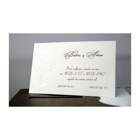 Tarjeta complemento invitación de boda Espino Álbar