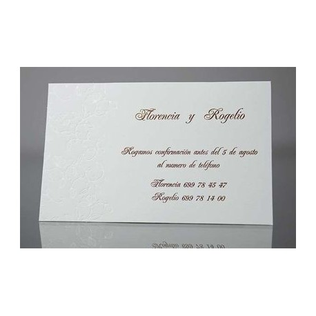 Tarjeta complemento invitación de boda Guaco